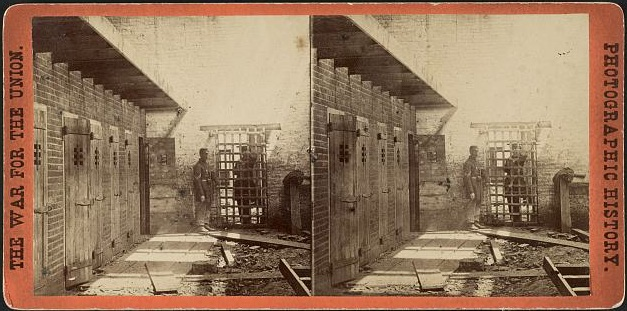 A stereoview of a slave pen in Alexandria, Virgina, in the 1860s. (Via Library of Congress)