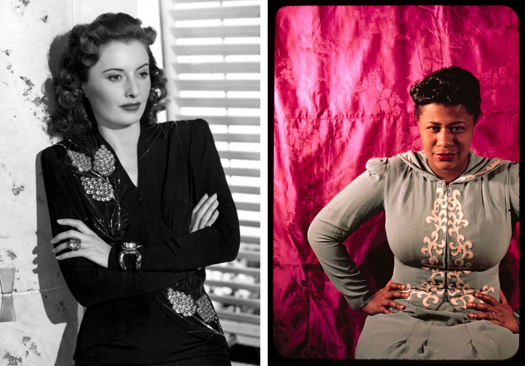 Left, Barbara Stanwyck in 1941, and right, Ella Fitzgerald in 1940. Both wear long-sleeved dresses with elaborate embellishment. Right image via newyorker.com.