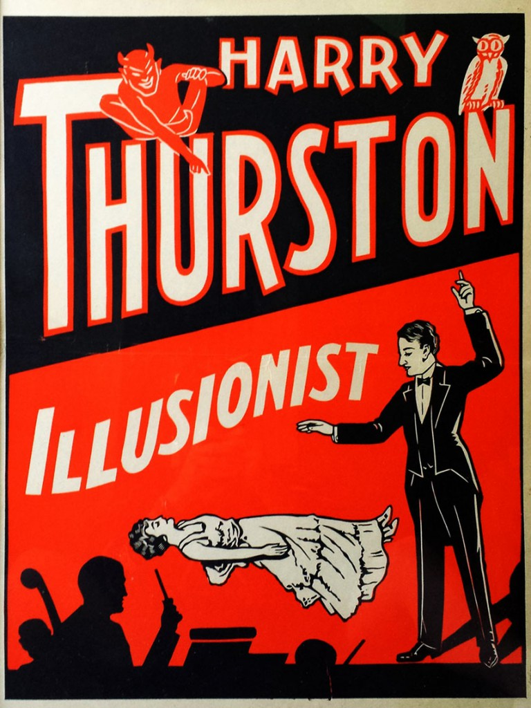 Top: A  Carrère poster circa 1920. Above: A rare lithograph for Harry Thurston, Howard Thurston's younger brother who had close ties to the mob-run underwold in Chicago, circa 1930. Images courtesy Zack Coutroulis.