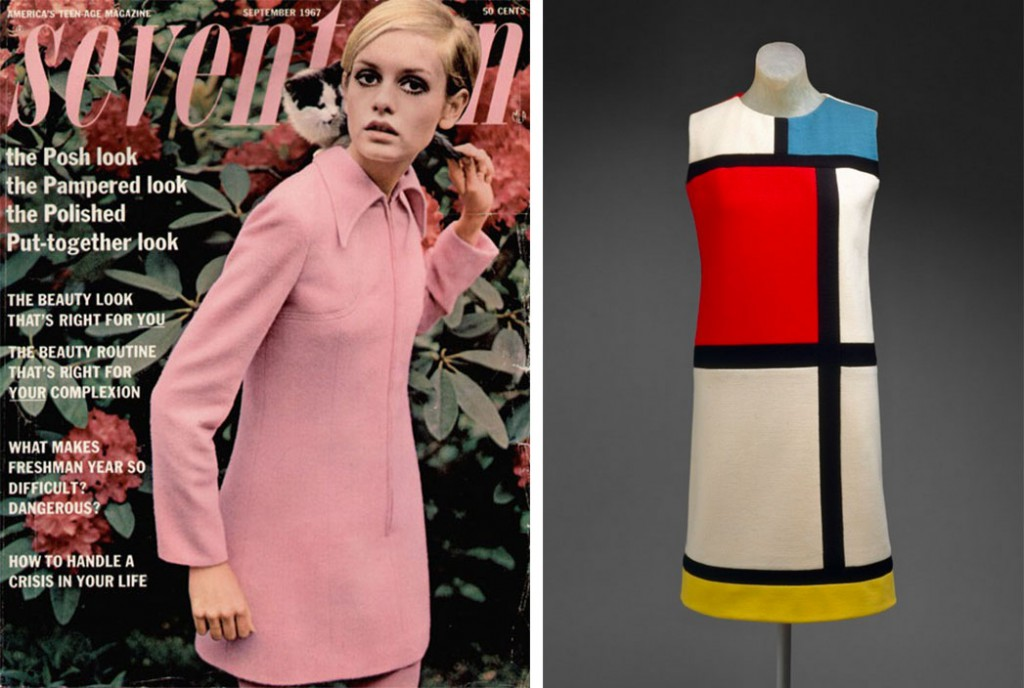 "Left, Twiggy wears a pink felt shift dress on the cover of ""Seventeen"" magazine in 1967. Right, Yves Saint Laurent's ""Mondrian"" dress is a quintessential mod look, circa 1965. Image via metmuseum.org."