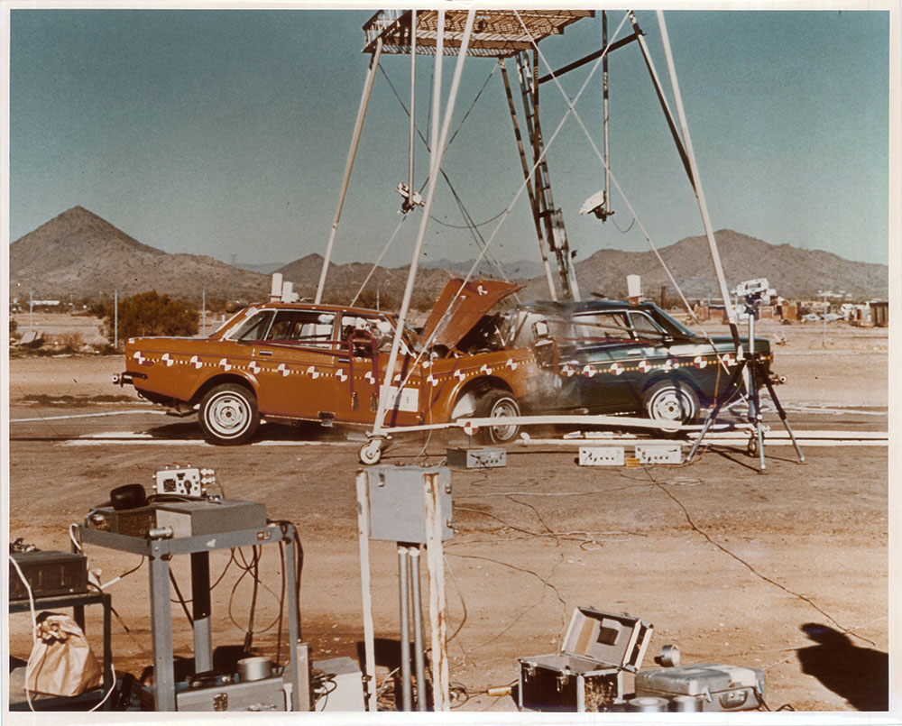 In the late 1970s, the NHTSA standardized crash tests, like this 90 mph test of two Volvos.