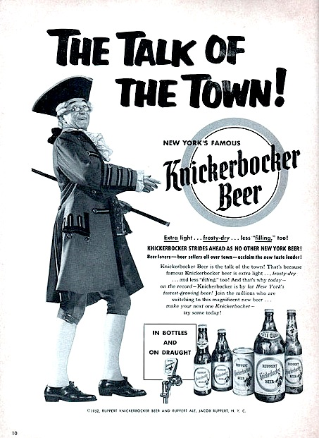 It's difficult to imagine a character like Father Knickerbocker, seen here in a magazine ad from the 1950s, being used today to sell beer to 21- to 34-year-old men. Photo via Flickr.