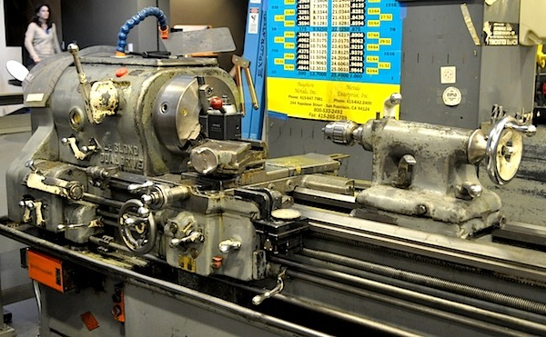 A postwar Le Blond machine lathe, sourced from the University of California, San Francisco, when it closed its machine shop.