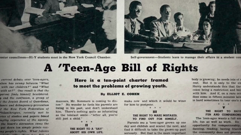"The New York Times published this ""Teen-Age Bill of Rights"" in 1945."