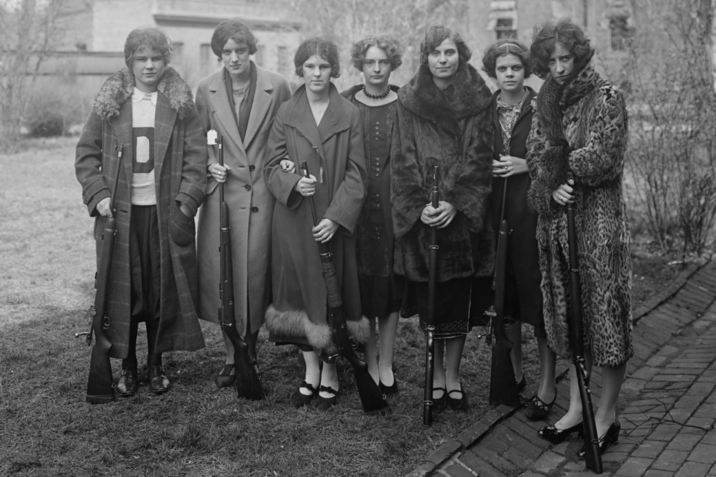 """Teenage"" reminds viewers that rebellion came in many forms, as seen in this archival photo of girls and guns, circa 1920."