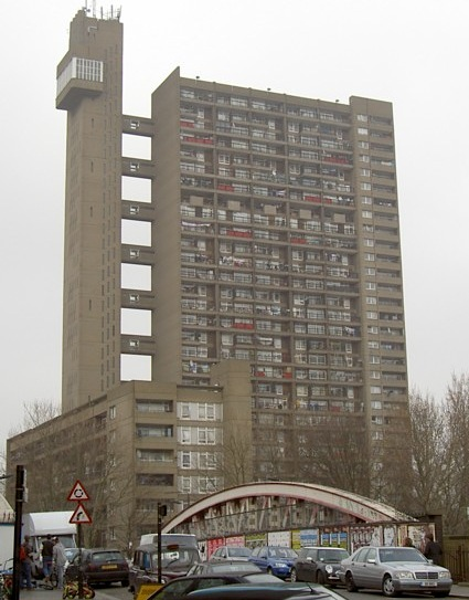 The Trellick Tower in London, commissioned in 1966 and completed in 1972, is being recognized for its historical significance as an example of Brutalist architecture. (Via WikiCommons)
