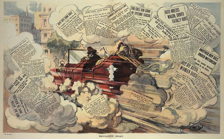 This cartoon from 1909 shows the outrage felt by many Americans that wealthy motorists could hurt others without consequence. Via the Library of Congress.