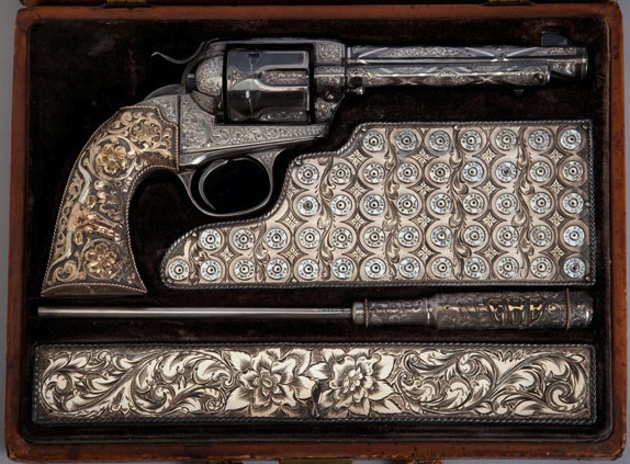 Saddlemaker Edward H. Bohlin owned this cased Single Action Army Revolver, manufactured by Colt's Patent Fire Arms Manufacturing Company, circa 1903. He engraved it himself, and Gene Autry eventually bought this gun. (Courtesy of the Autry National Center)
