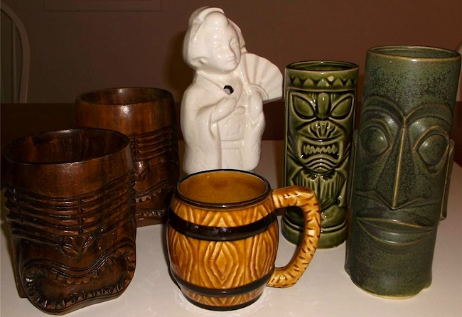 Starting in the 1930s, tiki bars and restaurants let Americans experience a faked Polynesian wonderland without leaving the country. These vintage tiki mugs served as take-home souvenirs.