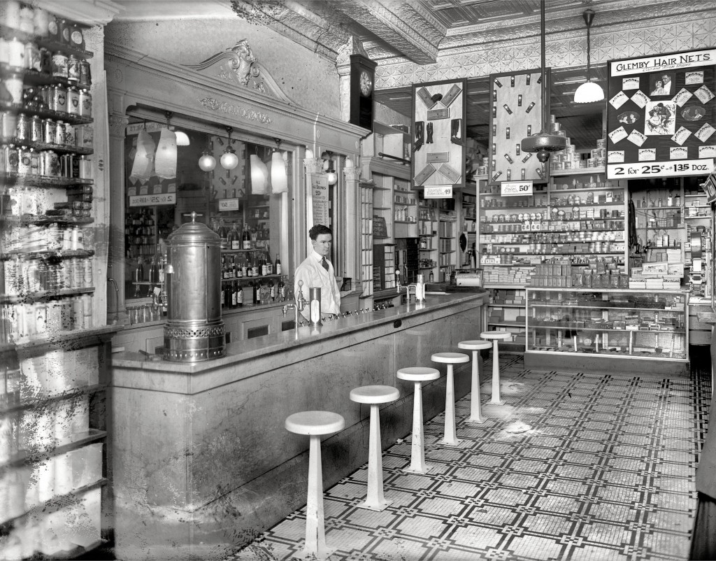 By the early 20th century, soda fountains were an integral part of neighborhood drugstores, such as this counter in a Washington, D.C. pharmacy, circa 1920. Via Shorpy.