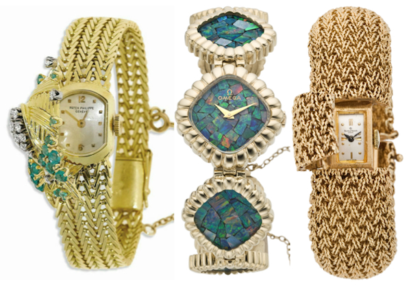 Ladies wristwatches have continued to be treated as jewelry. From left to right: A Patek Philippe diamond, emerald, and gold covered bracelet watch, circa 1957; an Omega gold and opal bracelet watch, circa 1975; and a Baume & Mercier gold bracelet watch, also circa 1975.