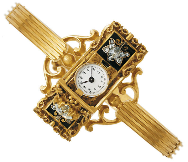 One of the earliest pieces of wearable technology is this Patek Philippe ladies wristwatch, which was made in 1868 and purchased by a Hungarian countess.