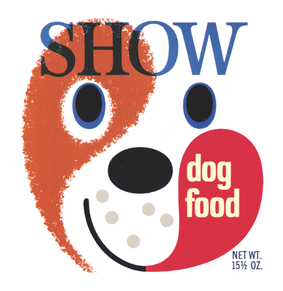 This label for Show dog food (the same brand name and style was used for the cat product) was produced by Purity Stores, Burlingame, California.
