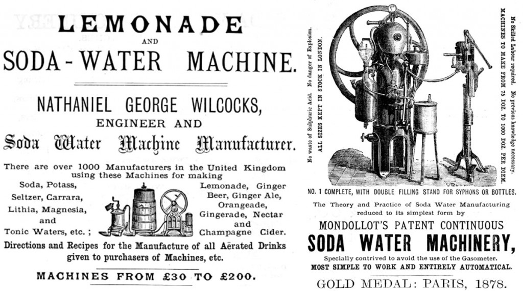 Top: A Coke advertisement from 1907. Above: Early soda machines required oversized cranks to manually carbonate water, like these devices from the 1870s.
