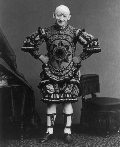 "George L. Fox, a popular clown in America in the 19th century, wore a bald skullcap and did a pantomime based on ""Humpty Dumpty."" (Image circa 1870s, via WikiCommons)"