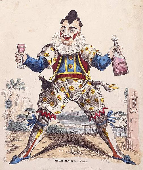 An Illustration of Joseph Grimaldi as Clown by George Cruikshank circa 1820. (Via The Public Domain Review)