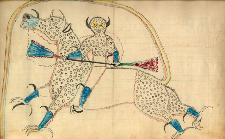 "A 1880s ledger drawing by Lakota Sioux Chief Black Hawk, depicting a horned Thunder Being (heyoka) on a horse-like creature with eagle talons and buffalo horns. The creature's tail forms a rainbow that represents the entrance to the Spirit World, and the dots represent hail. (From ""American Indians: Celebrating the Voices, Traditions & Wisdom of Native Americans,"" by the National Society for American Indian Elderly)"