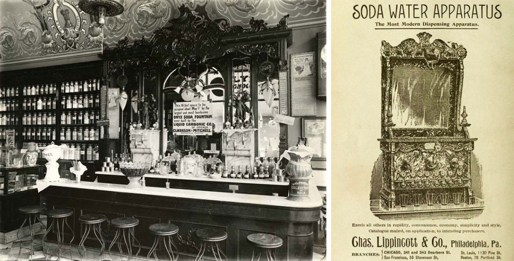 In their heyday, soda fountains were elaborately designed places for rejuvenation. Left, the counter at the Clarkson & Mitchell Drugstore in Springfield, Illinois, circa 1905. Via the Abraham Lincoln Presidential Library and Museum. Right, an 1894 ad for an ornate fountain produced by Charles Lippincott & Co..