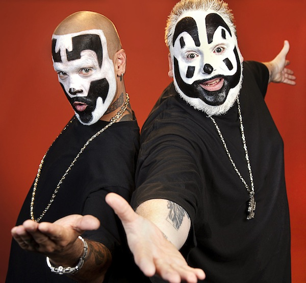 """Wicked clowns"" Violent J and Shaggy 2 Dope in a publicity photo for the hip-hop group Insane Clown Posse."