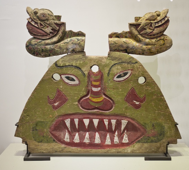 In Korean funerals, dragon and goblin heads are placed on the front and the back of the coffin frame to frighten evil spirits. From the Kokdu Museum in Seoul, Korea. (Photo by Joanna Ebenstein, via Morbid Anatomy)
