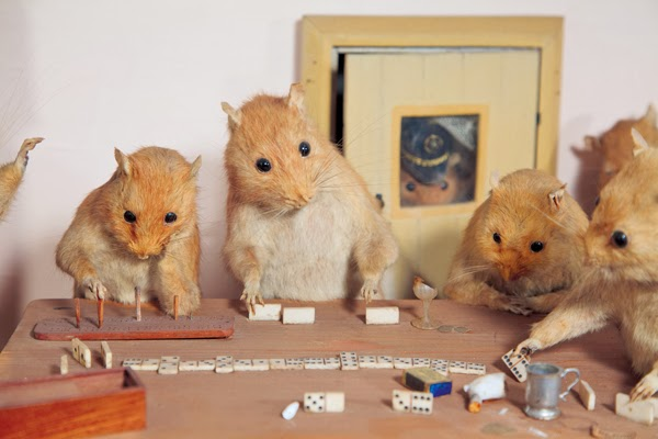 "Rats play dominoes in Potter's ""The Lower Five,"" made in the late 19th century. (Photo by Joanna Ebenstein, via Morbid Anatomy/Blue Rider Press)"