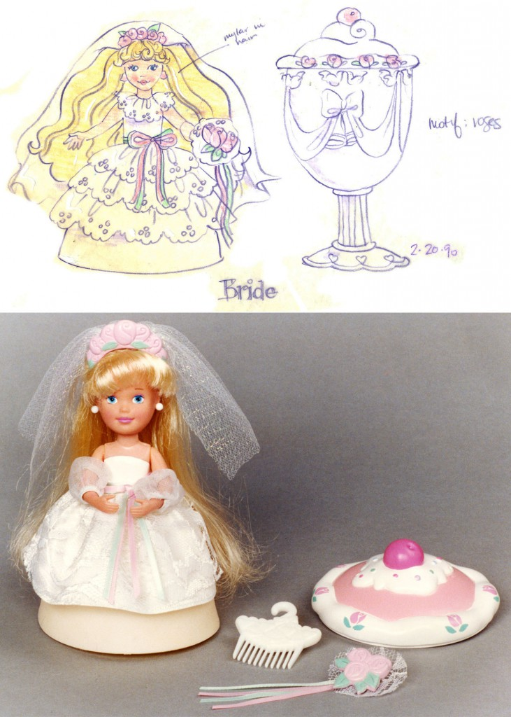 Eskander's first concept sketch and finalized toy for the Princess Parfait character in a line of Tonka toys that transformed from cupcakes into dolls.