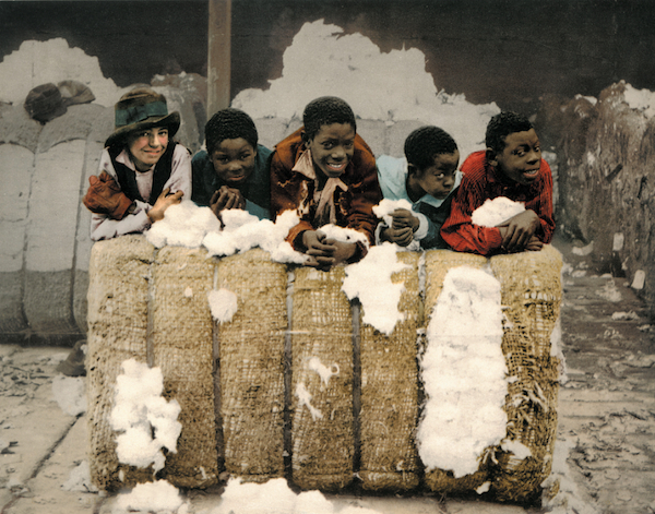 Boys pose in a cotton shed in Mississippi, circa 1900.