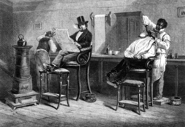 "A barbershop in Richmond, Virginia, as depicted in the ""Illustrated London News,"" on March 9, 1861."