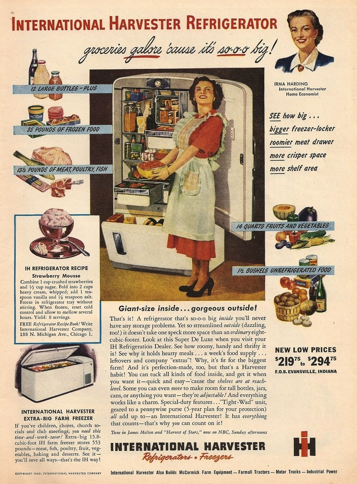 Sundblom's Irma Harding portrait was featured in numerous advertisements, such as this one promising to hold 1 1/2 bushels of unrefrigerated food (click to enlarge).