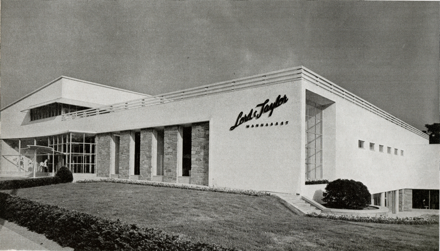 "The exterior of a late-1940s Loewy designed Lord & Taylor in Manhasset, New York. (Via MrBluehaunt.blogspot.com, from ""Contemporary Shops in the United States: 1945-47"")"