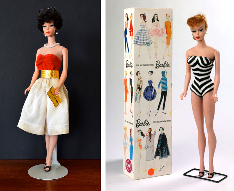 Left, Eskander's original barbie doll. Right, Barbie's first outfit and packaging, featuring a sophisticated black-and-white look. Via the Victoria and Albert Museum.