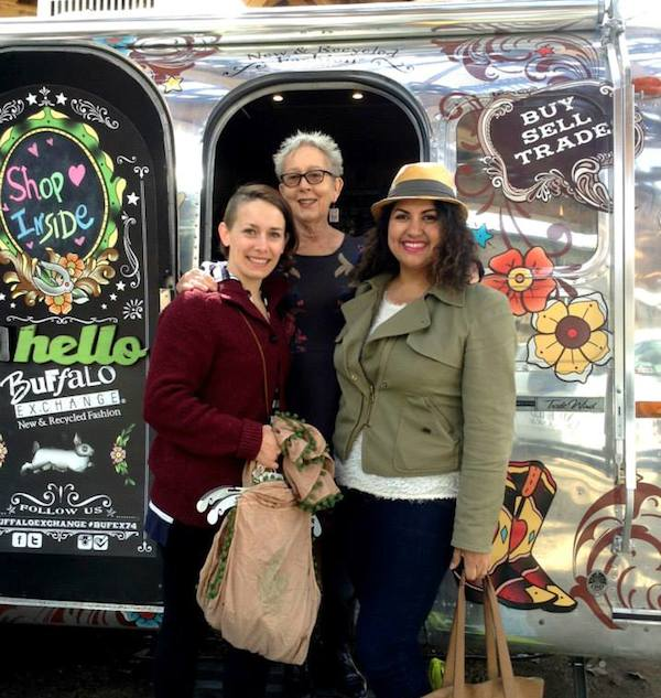 In honor of the retail chain's 40th anniversary, Buffalo Exchange has converted a 1969 Airstream trailer into a pop-up store. Company owner Kerstin Block (center) stands outside the trailer with some friends. (Via the Buffalo Exchange Facebook page.)