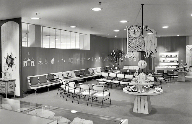 The juvenile shoes department at the Raymond Loewy designed Lord & Taylor in Bala-Cynwyd, Pennsylvania, in 1955. (Via the Gottscho-Schleisner Collection at the Library of Congress)