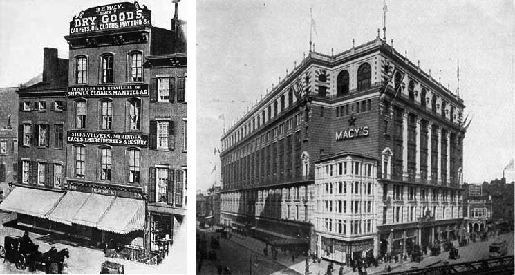 The first Macy's department store (at left) opened in New York City in 1858. The store moved to Herald Square in 1906 (right) and expanded to 2.2 million square in 1924. (Via Ephemeral New York)