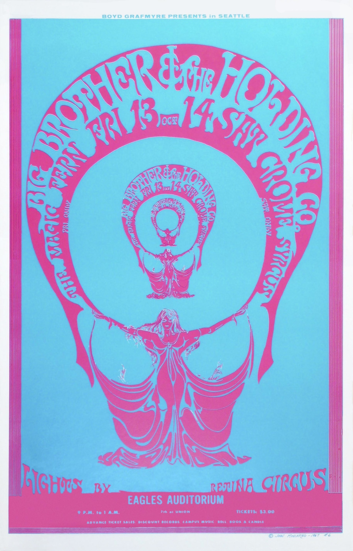 A particularly vivid John Moehring poster for a 1967 Big Brother and the Holding Company concert at Eagles Auditorium. Retina Circus did the light show.