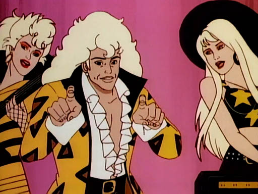 When the Stingers (Rapture, Riot, and Minx) were introduced in 1987, they may have had the biggest, blondest hair in Jem history. (Via WikiCommons)