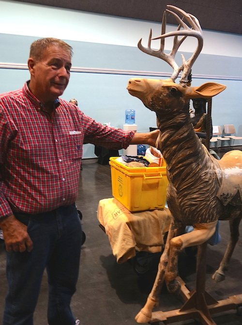 On his way out, Bob shows us his Philadelphia Toboggan Company deer from the old Great America carousel.