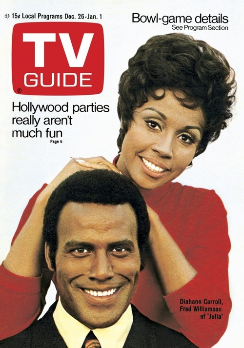 "The stars of ""Julia,"" Diahann Carroll and Fred Williamson, on the cover of the Dec. 26-Jan 1, 1971 issue of ""TV Guide."""