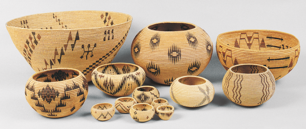 Washoe bowls from the Blaugrund collection. There are no jars here, and all coil left using three willow rods for the foundation with willow, redbud, and dyed bracken fern root for the splints.