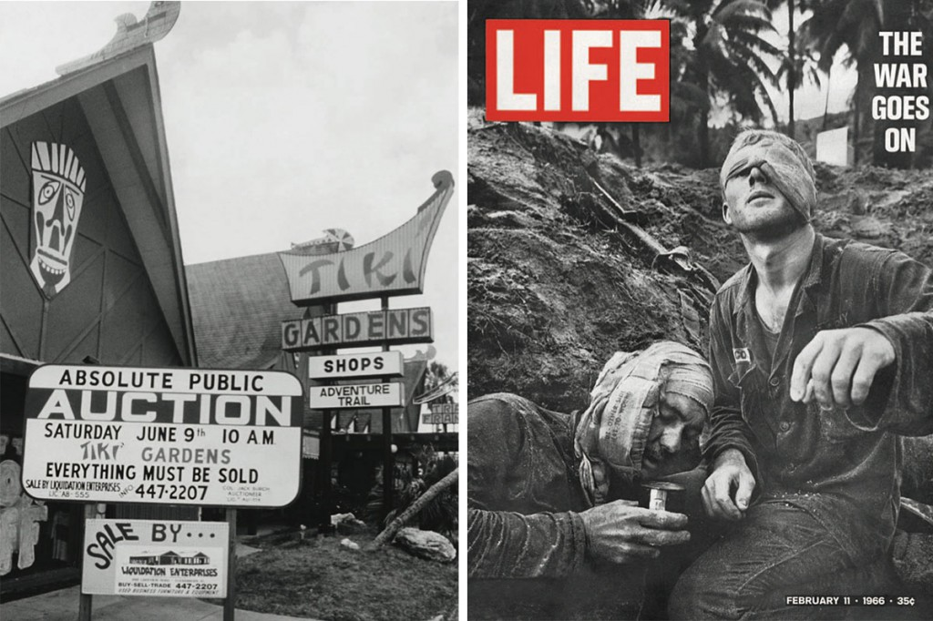 Left, by the 1970s, many Tiki-style businesses were viewed as passé. Right, the Vietnam War helped dispel America's romanticized notions of the tropics.
