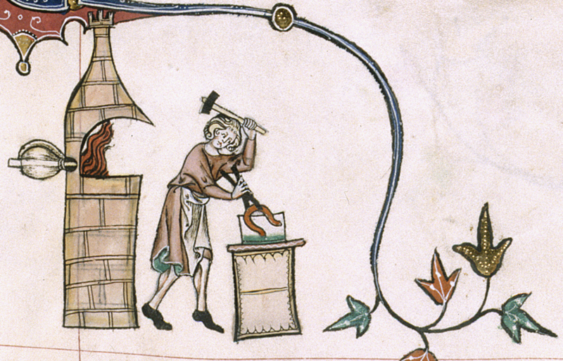 Marginalia also offers a visual record of what ordinary things looked like in the medieval era, like this image of a man working on a forge from the Gorleston Psalter, c. 1310-1324. (British Library Royal MS 49622, f. 193r.)