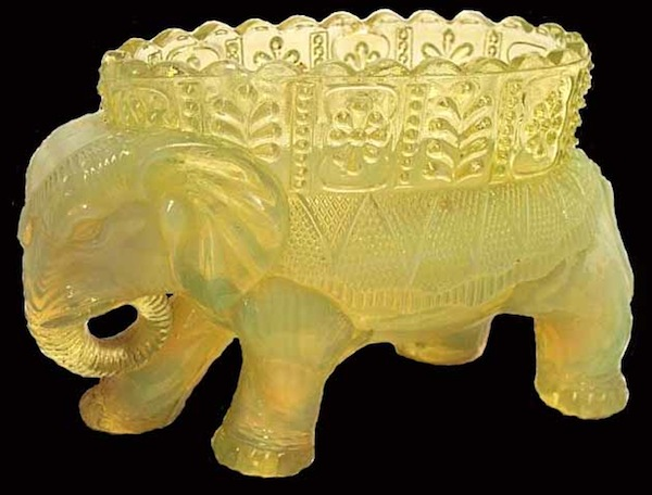 "This Victorian Era novelty glass in the form of an elephant vase was produced by Burtles, Tate & Co. of Manchester, England. Photo via Dave Peterson at <a href=""http://www.vaselineglass.org/"">VaselineGlass.org</a>"