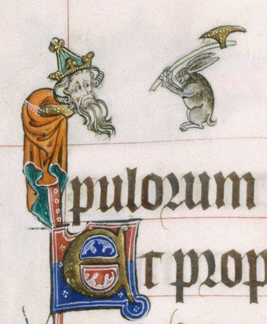 Killer rabbits existed long before the Monty Python skit, as seen in the Gorleston Psalter, c. 1310-1324. (British Library Royal MS 49622, f. 13v.)