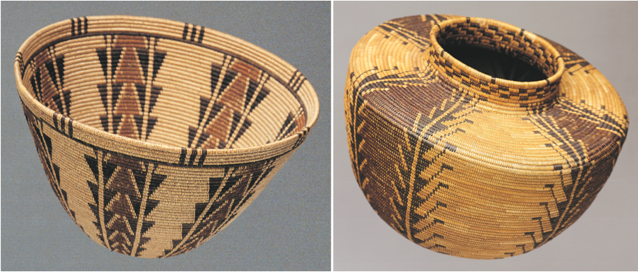 "Left: Panamint coiled baskets such as this one from the Blaugrund collection influenced Owens Valley Paiute and Southern Paiute weavers. Right: This Yokuts bottleneck jar from the Blaugrund collection features a ""quail"" design attributed to Mrs. Dick Francisco. It coils right and is made of a deergrass foundation, with sedge root, redbud, and dyed bracken fern root."