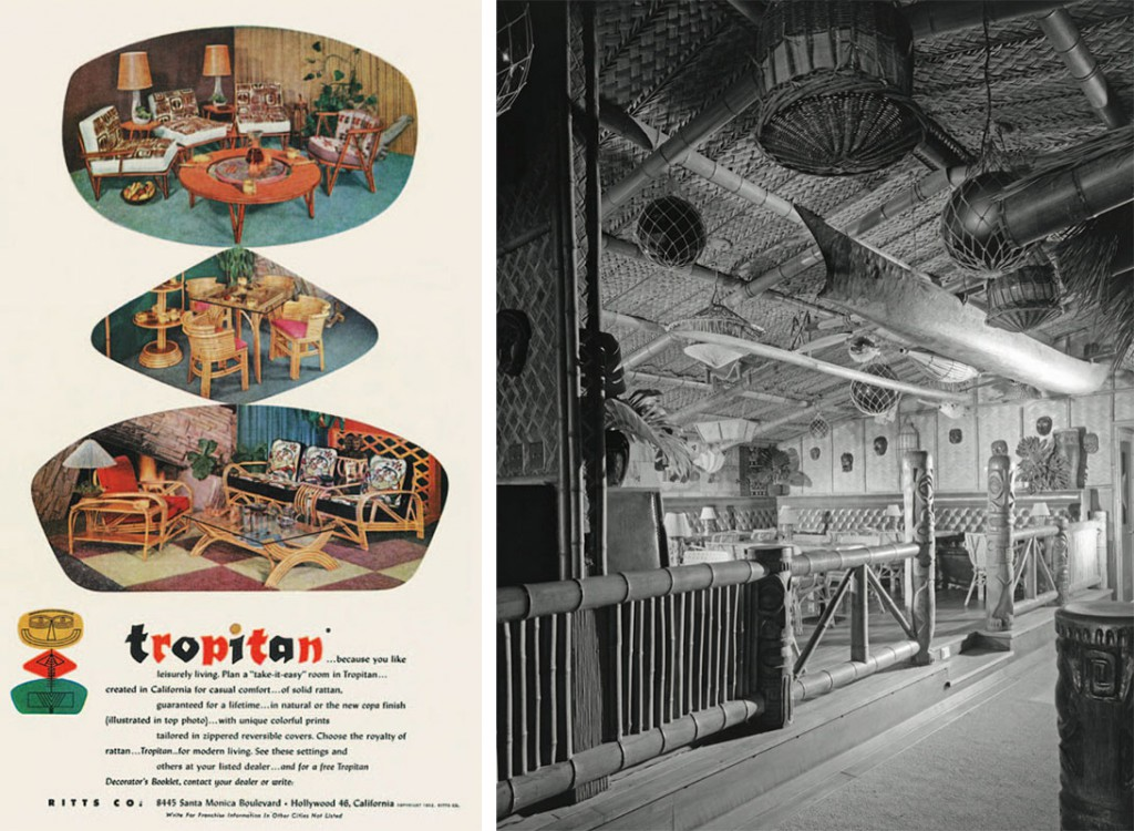 Left, a 1952 ad for the Ritts Company's rattan furniture brings the South Seas style into the mid-century home. Right, the interior of the Trader Vic's in Beverly Hills, circa 1955.