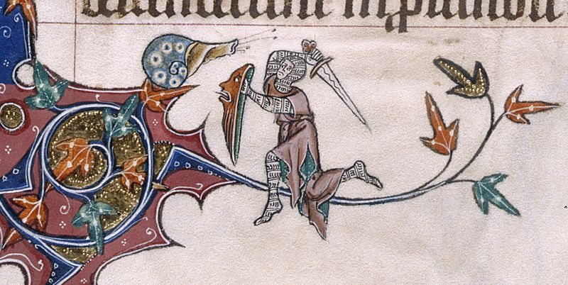A knight attacks a menacing snail in the margins of the Gorleston Psalter, c. 1310-1324. (British Library Royal MS 49622, f. 193v.)
