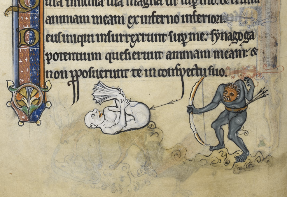 A grotesque image of an ogre shooting an arrow into another creature's rear from the Rutland Psalter, c. 1260. (British Library Royal MS 62925, f. 87v.)
