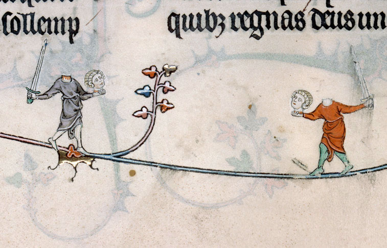Two wild and crazy headless guys in the Summer volume of the Breviary of Renaud and Marguerite de Bar, Metz ca. 1302-1305. (Verdun, Bibliothèque municipale, MS 107, f. 99v.)