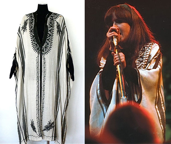 Grace Slick, the lead singer of Jefferson Airplane, wore this caftan onstage at the Monterey Pop Festival in 1967. Currently on display at the Rock & Roll Hall of Fame, the caftan will be up for sale at Record Mecca Fine Music Collectibles. (Via RecordMecca.com)