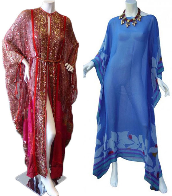 Left, a late-1960s red, embroidered caftan by Elizabeth Taylor's favorite designer, Thea Porter. (Via Decades Inc.) Right, a 1970s Valentino caftan. (Via Etsy)
